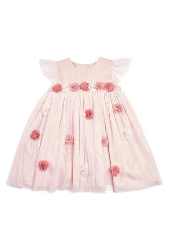 Mamas and Papas pink Lace 3D Floral Dress F33B8KA30602BBGS_1