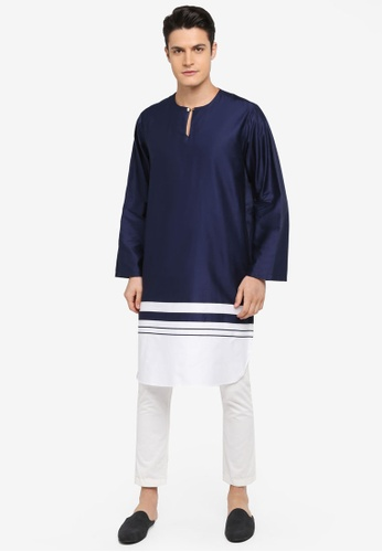 Rizalman for Zalora white and blue Roshan Top Kurta Blocking RI909AA0SF0CMY_1