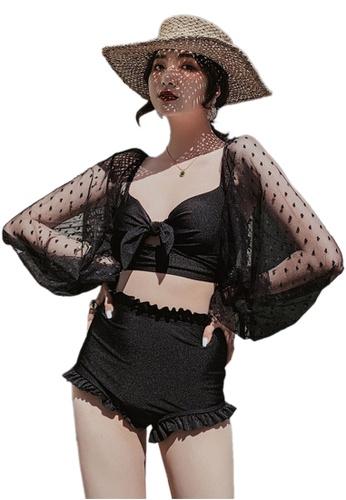 Sunnydaysweety 黑色 綁帶分體三角長袖兩件套泳衣 CA071703BK C50E0US6894529GS_1