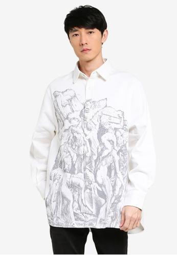 URBAN REVIVO white Casual Printed Shirt 759EDAA56638D1GS_1