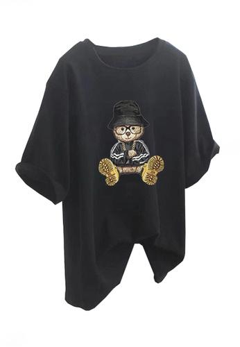 Twenty Eight Shoes black VANSA Fun Bear Loose Short Sleeve T-Shirt VCW-Ts5602 EA8BEAA33ECAD7GS_1