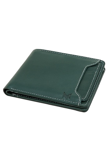 Miajee's green VULCAN-Genuine Leather Handcrafted Bifold Wallet with Detachable Card Holder - Green 4A353AC240436CGS_1