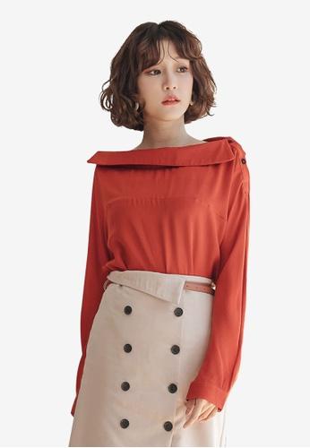 7da9496887966 Tokichoi red One Shoulder Long Sleeve Top 326E0AA56CF33FGS 1