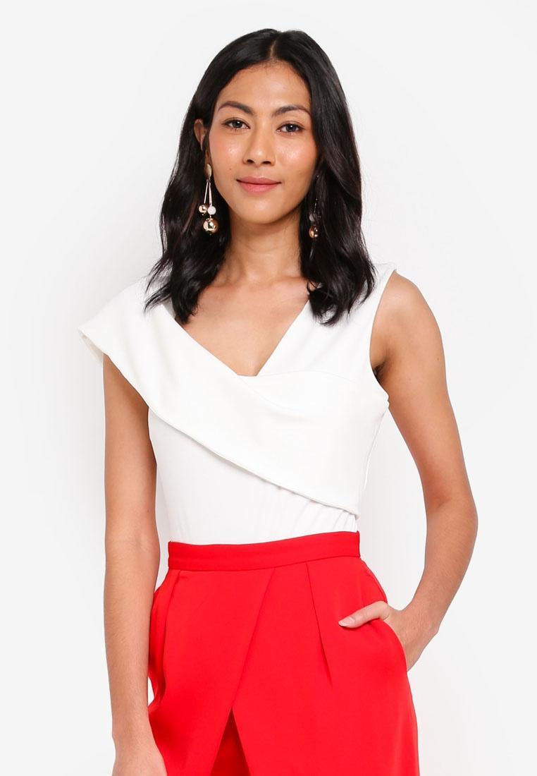 Alice Asymmetric Bodysuit White Cold Ribbed Shoulder Lavish fETndqgq
