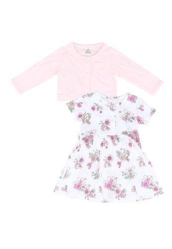 Milliot & Co. pink Aidan Girls' Dress With Cardigan E3D12KA7B76140GS_1