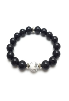 Simple Obsidian Detailed Bracelet with Howlite Stone