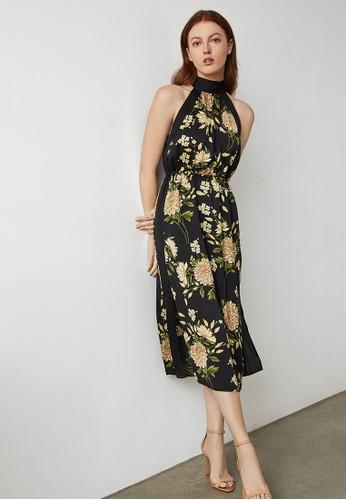 BCBG Max Azria black Garden Floral Halter Dress EF555AAF693181GS_1