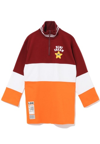 Mini cream red Colour block quarter zip sweatshirt 48A8FAA94F0FC1GS_1