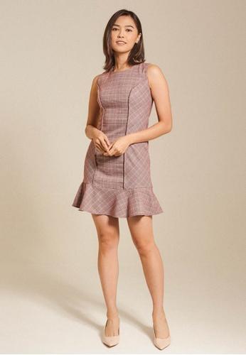 Dressing Paula red Ruffled Plaid Cotton Blend Mini Dress 0884BAAE4BACB0GS_1