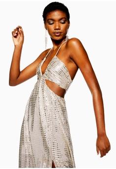 TOPSHOP Glitter Cutout Maxi Dress S  149.00. Sizes 8 10 12 39874063e