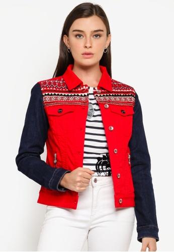 Desigual red Multicolour Friezes Jean Jacket 7C5C1AA111E452GS_1