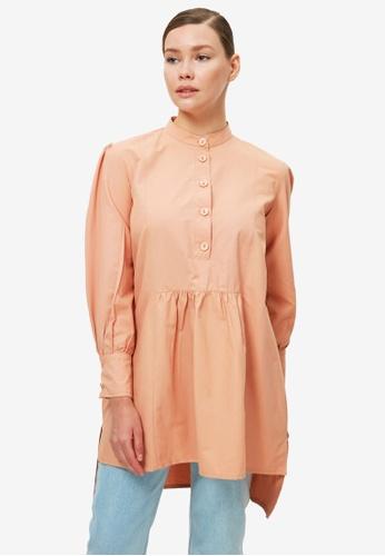 Trendyol 橘色 Longline Asymmetrical Tunic Top 16982AA4702997GS_1