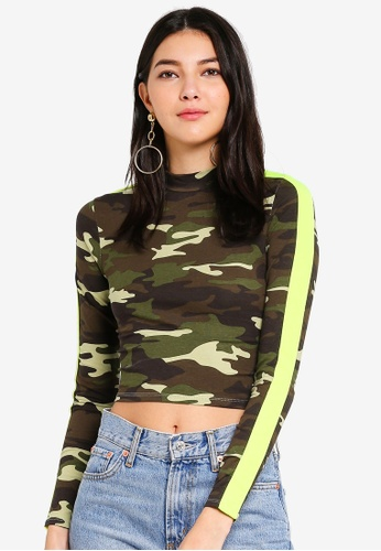 Factorie multi Co-Ord Cropped Funnel Neck Long Sleeve Top 08038AAC767CBEGS_1