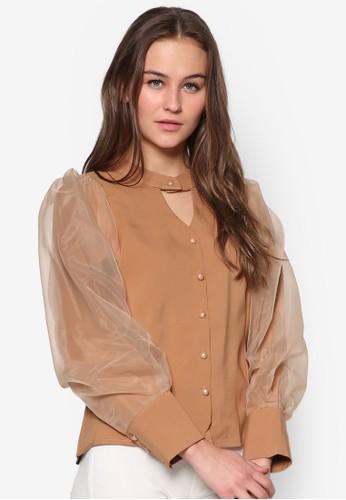 薄紗zalora 折扣碼泡泡袖鏤空上衣, 服飾, 上衣