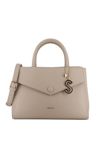 SEMBONIA beige Duo-Colour Satchel Bag 37032AC5A532C0GS_1