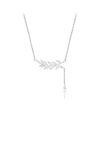 Glamorousky white 925 Sterling Silver Simple Fashion Leaf Tassel Pendant with Cubic Zirconia and Necklace 9930DAC94FE2B4GS_1