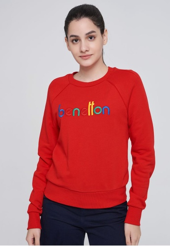 United Colors of Benetton red Logo Printed Sweatshirt 8B1E7AAD644D55GS_1