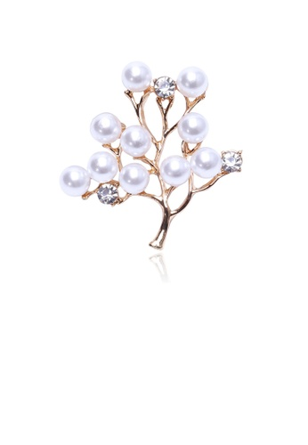 Glamorousky white Fashion and Elegant Plated Gold Floral Imitation Pearl Brooch with Cubic Zirconia D8B74AC3736337GS_1