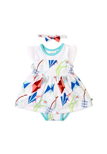 OETEO white and multi Road Trip Easyeo Flutter Sleeve Easyeo Romper Dress (White) 64F1FKA68B0F83GS_1