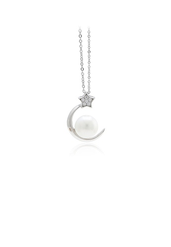 Glamorousky white 925 Sterling Silver Fashion Simple Moon Star Freshwater Pearl Pendant with Cubic Zirconia and Necklace A393AAC2251818GS_1