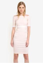 Vesper pink Berdine Contrast Band Pencil Dress VE733AA0S79CMY_1