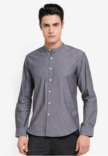 ZALORA grey Slim Fit Mandarin Collar Chambray Long Sleeve Shirt 4A46EAA8BAAAB0GS_1