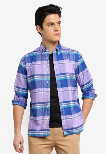 Brooks Brothers purple Red Fleece Ox Yarn Dyes Feb with Logo Violetmadras Shirt 4CF65AA8F840D7GS_1