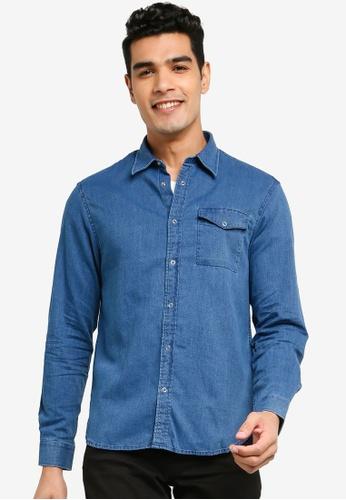 Electro Denim Lab blue Dobby Indigo Shirt 44D8CAA71349B7GS_1