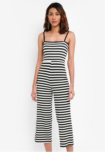 TOPSHOP black Shirred Striped Jumpsuit 7812CAA4DE272EGS_1