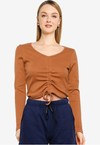 UniqTee brown Longs Seeve Drawstring Ruched Top 2D810AA8C7DACFGS_1
