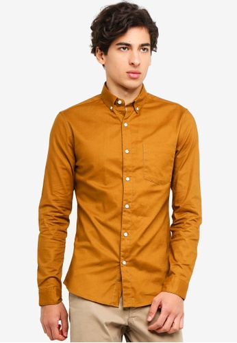 Topman 黃色 Stretch Long Sleeve Oxford Shirt 49820AADC0DF02GS_1