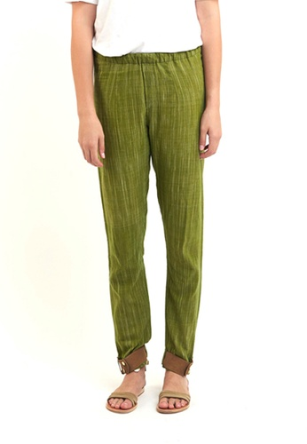 Akosée green Cuff Me Cotton Trousers BCCD0AA6D6527EGS_1