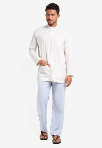 Lubna white and blue Grid Double Placket Baju Melayu Teluk Belanga 8B96EAA42FAA77GS_1