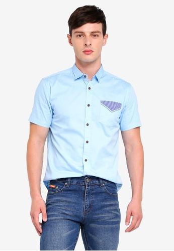 Fidelio 藍色 Contrast Pocket Micro Collar Casual Short Sleeves Shirt AE8B6AA3AB5727GS_1