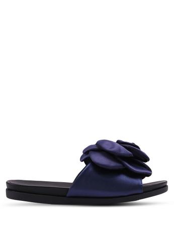 LOST INK 海軍藍色 立體花飾拖鞋 600BFSHC0533AEGS_1