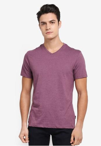 Burton Menswear London red Burgundy Marl V-Neck T-Shirt F88EEAAB6E6E82GS_1