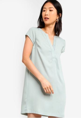 ZALORA BASICS green Basic Short Sleeves A-Line Dress 7F078AAD0AEAC2GS_1