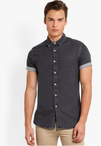 Topman grey Grey Muscle Fit Short Sleeve Denim Shirt TO413AA84RBBMY_1