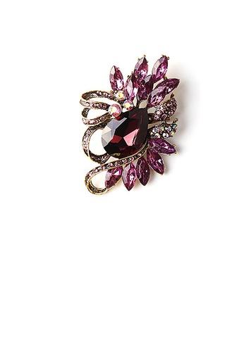 Glamorousky purple Fashion Bright Plated Gold Geometric Purple Cubic Zirconia Brooch 960A8ACB622C1AGS_1