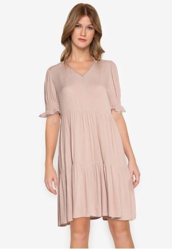 ZALORA BASICS beige V-Neck Babydoll Dress 78D14AA6629C0CGS_1
