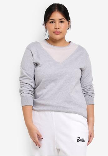 MISSGUIDED grey Plus Size Mesh Insert Grey Sweatshirt AB9C2AA597167DGS_1
