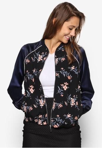 花卉印花飛行員外套, 服飾,esprit 台北 外套