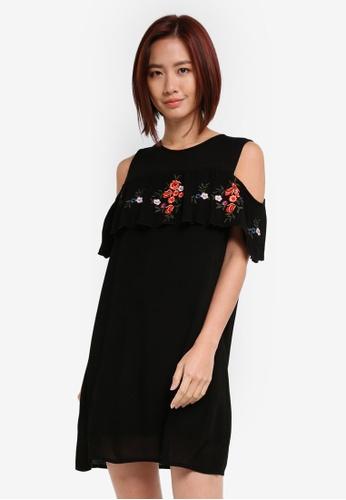 ZALORA black Embroidered Cold Shoulder Dress 4D460AA0FC35E0GS_1