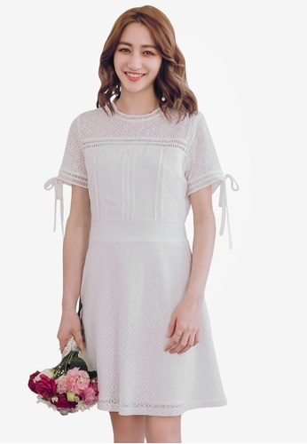YOCO white Lace Skater Dress 9A24BAABE08887GS_1