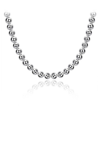 Glamorousky silver Simple Ball Bead Necklace For Men 35146AC9584152GS_1