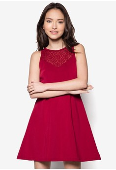 Lace Panel Sweet Heart Neckline Dress