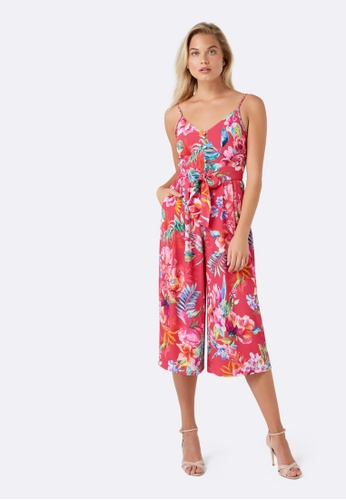 Forever New pink Dita Cullotte Printed Jumpsuit D3D2FAA075CBFEGS_1