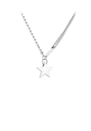 Glamorousky silver Simple Temperament Star 316L Stainless Steel Pendant with Necklace 330E3AC99A30BDGS_1