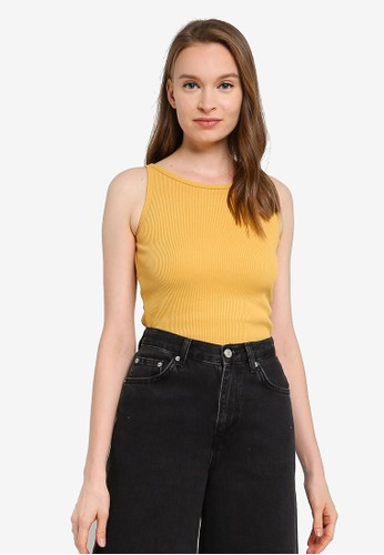 UniqTee yellow 2 Pack Solid Ribbed Cropped Tank Top 41A39AA6F511DFGS_1