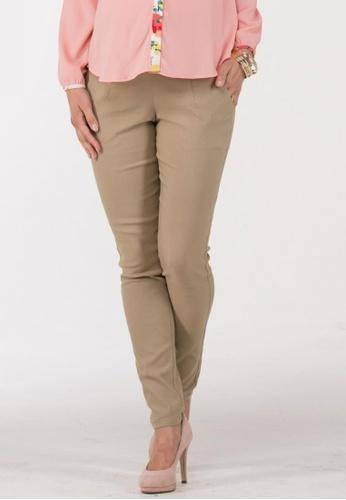 Bove by Spring Maternity beige Aisha High Waist Pleated Pants IB1901 SP010AA26AIJSG_1